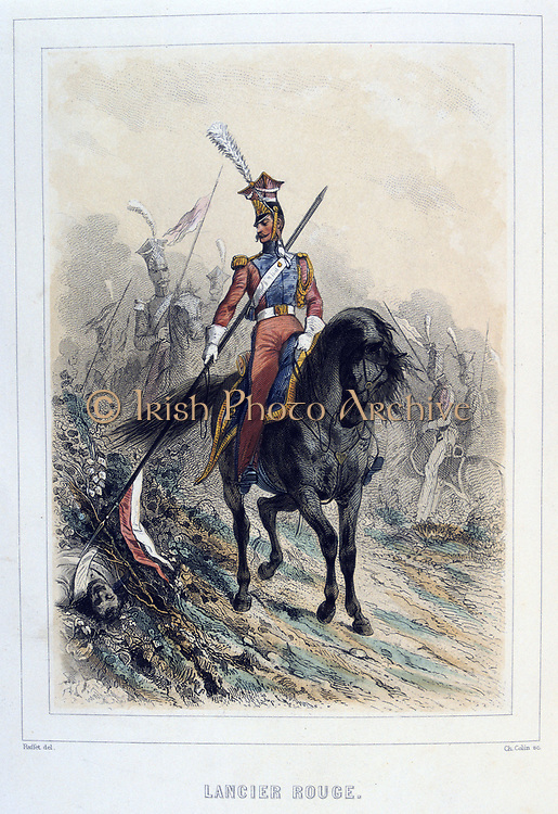 Red Lancer.    From 'Napoleon 1er et la Garde Imperiale' by Eugene Fieffe, Paris, 1858.