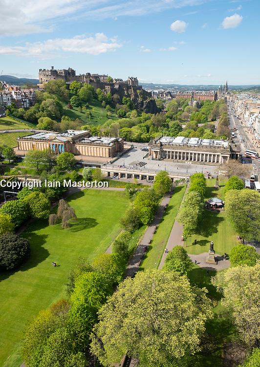 Skyline of Princes Street Gardens, The Scottish National Gallery (L) and the Royal Scottish Academy (R)  in Edinburgh, Scotland, UK