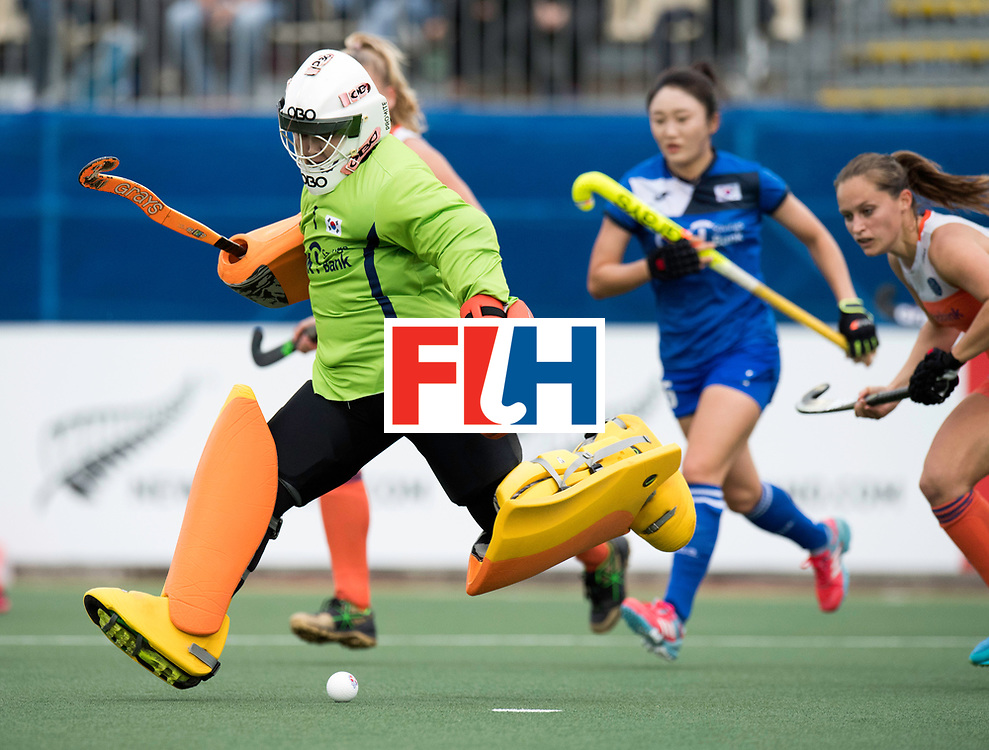 AUCKLAND - Sentinel Hockey World League final women<br /> Match id: 10299<br /> 09 NED v KOR (Pool A)<br /> Foto:  Yesol Cha kickt de bal.<br /> WORLDSPORTPICS COPYRIGHT FRANK UIJLENBROEK
