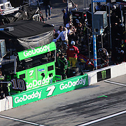 The pit stall for Danica Patrick, driver of the (7) GoDaddy Chevrolet is seen empty after she wrecked during the 60th Annual NASCAR Daytona 500 auto race at Daytona International Speedway on Sunday, February 18, 2018 in Daytona Beach, Florida.  (Alex Menendez via AP)