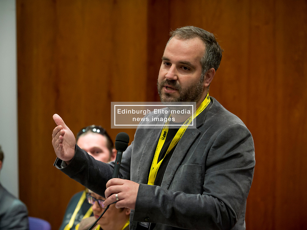 Pictured: Dr Oliver Escobar from What Works Scotland speaks to a fringe meeting at the conference discussing citizen's assemblies.<br /> <br /> The SNP held their spring conference at the EICC in Edinburgh, where independence and brevet were high on the agenda.<br /> <br /> © Dave Johnston / EEm