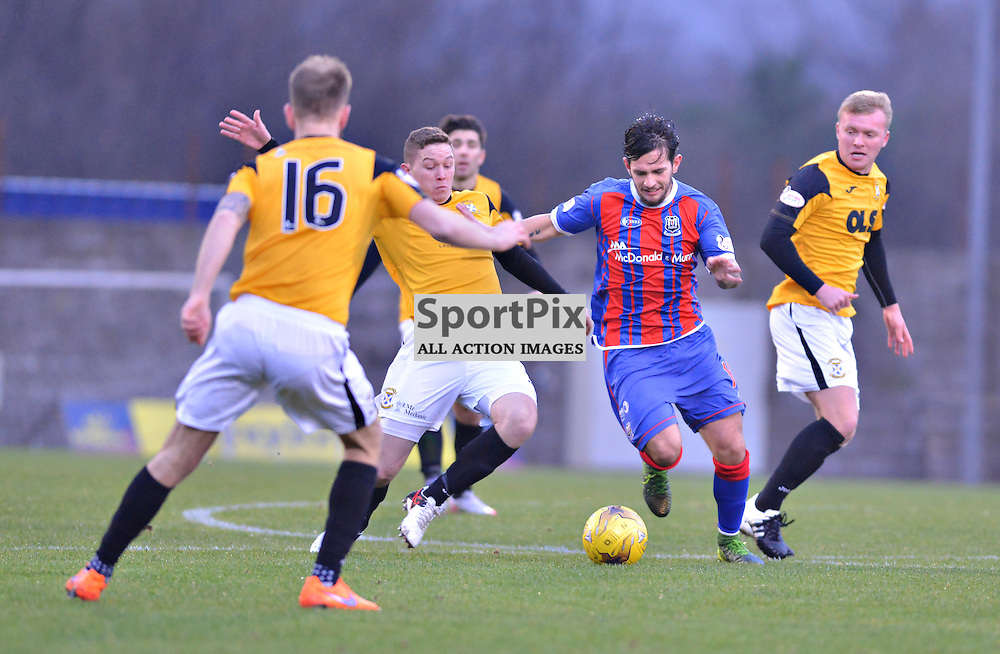 No way through as Dylan Easton of Elgin struggles to find a way past East Fife defenders......(c) BILLY WHITE | SportPix.org.uk