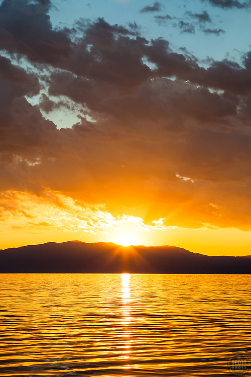 """Sunrise at Lake Tahoe 20"" - Photograph of a vibrant sunrise shot from a small fishing boat during the annual Jakes on the Lake charity fishing derby."