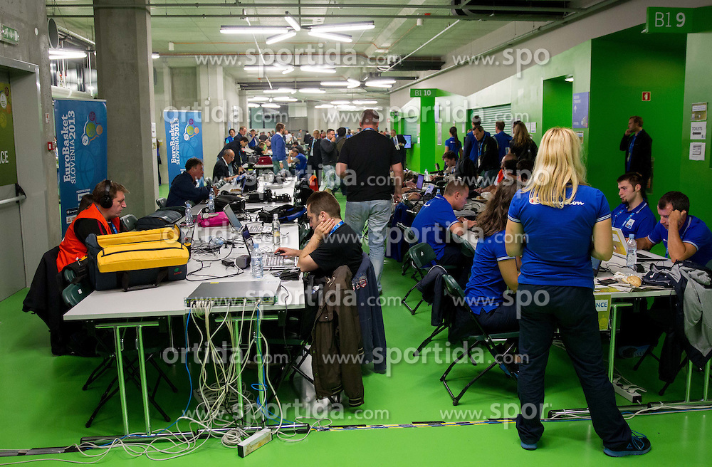 Media centre prior to the basketball match between National teams of Slovenia and France in Quarterfinals at Day 15 of Eurobasket 2013 on September 18, 2013 in Arena Stozice, Ljubljana, Slovenia. (Photo by Vid Ponikvar / Sportida.com)