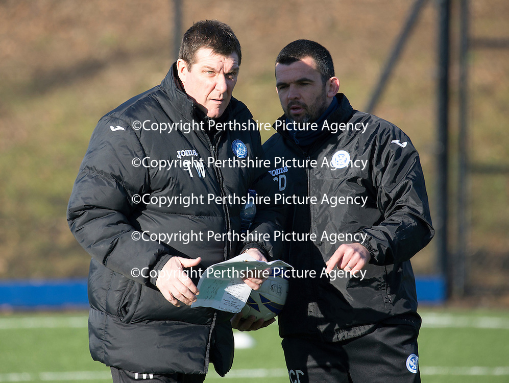 St Johnstone Training....05.02.15<br /> Manager Tommy Wright and assistant Callum Davidson pictured training at McDiarmid Park this morning ahead of Saturday's Scottish Cup tie at Queen of the South.<br /> Picture by Graeme Hart.<br /> Copyright Perthshire Picture Agency<br /> Tel: 01738 623350  Mobile: 07990 594431