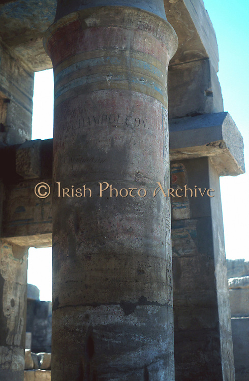 Jean-Francois Champollion (1790-1832) French historian and linguist; founder of scientific Egyptology. His name carved into pillar at Temple of Karnak (Luxor).