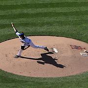Pitcher Jacob deGrom, New York Mets, pitching during the New York Mets Vs Washington Nationals MLB regular season baseball game at Citi Field, Queens, New York. USA. 4th October 2015. Photo Tim Clayton