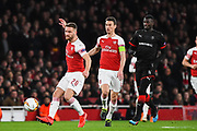 Arsenal Defender Shkodran Mustafi (20) in action during the Europa League round of 16, leg 2 of 2 match between Arsenal and Rennes at the Emirates Stadium, London, England on 14 March 2019.