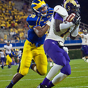 West Chester Wide receiver LaRonn Lee #7 catches a 14 yards TD in the fourth quarter during a Week 2 NCAA football game against Delaware. ..Lee finished with 111 yards receiving as #8 Delaware defeated Westchester 31-10  in their home opener at Delaware Stadium Saturday Sept. 10, 2011 in Newark DE...Delaware will return home Sept. 17, 2011 for a showdown with interstate Rival Delaware State at 6:pm at Delaware Stadium. (Monsterphoto/Saquan Stimpson)