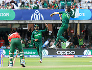 Wicket - Shaheen Afridi of Pakistan celebrates taking the wicket of Mustafizur Rahman of Bangladesh during the ICC Cricket World Cup 2019 match between Pakistan and Bangladesh at Lord's Cricket Ground, St John's Wood, United Kingdom on 5 July 2019.