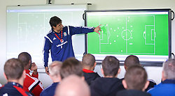 NEWPORT, WALES - Saturday, May 30, 2015: Wales' manager Chris Coleman uses Globall Coach software during the Football Association of Wales' National Coaches Conference 2015 at Dragon Park. (Pic by David Rawcliffe/Propaganda)