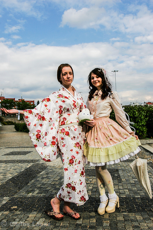 Cosplayers at Animefest 2015 in the city of Brno, czech republic, one is with a yukata and another is Lolita.