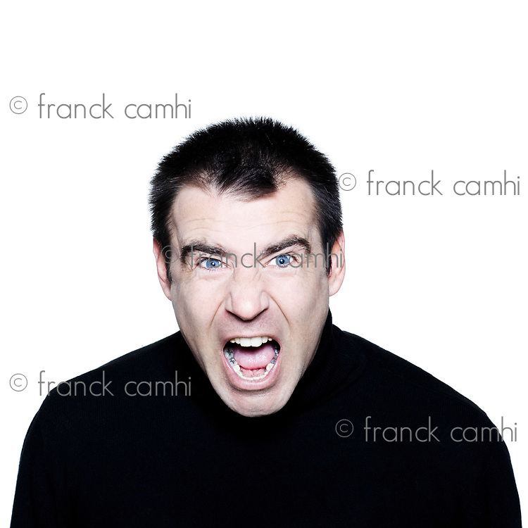caucasian man portrait screaming  angry displeased  portrait on studio isolated white background