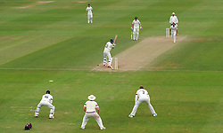 Nottinghamshire's Jake Ball is bowled by Somerset's Alfonso Thomas. - Photo mandatory by-line: Harry Trump/JMP - Mobile: 07966 386802 - 16/06/15 - SPORT - CRICKET - LVCC County Championship - Division One - Day Three - Somerset v Nottinghamshire - The County Ground, Taunton, England.