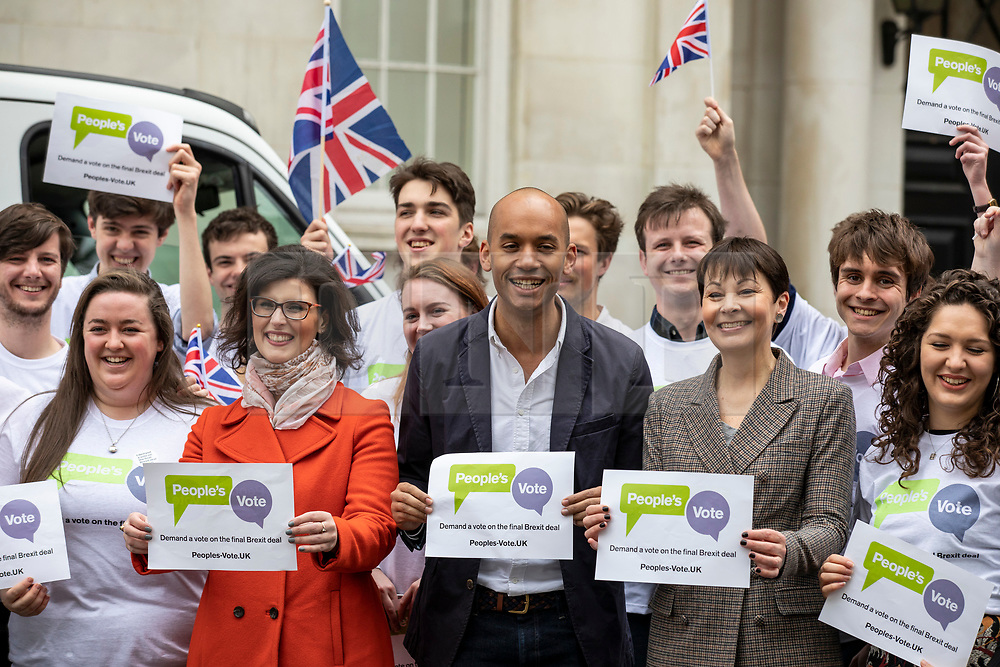 © Licensed to London News Pictures. 15/04/2018. London, UK. Green Party Co-Leader CAROLINE LUCAS (centre-right), Liberal Democrat LAYLA MORAN (centre-left) and Labour MP CHUKA UMUNNA (centre) join activists from the campaign group People's Vote, which is calling for a public vote on the final Brexit deal. Photo credit: Rob Pinney/LNP
