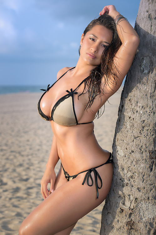 Seductive woman posing in a side view shot in the beach leaning in a palm tree