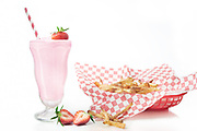 Strawberry Milkshake and Fries by Rodney Bedsole, a food photographer based in Nashville and New York City.