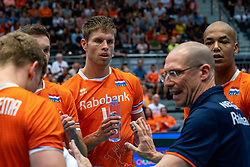 10-08-2019 NED: FIVB Tokyo Volleyball Qualification 2019 / Belgium - Netherlands, Rotterdam<br /> Third match pool B in hall Ahoy between Belgium vs. Netherlands (0-3) for one Olympic ticket / Thijs Ter Horst #4 of Netherlands, Nimir Abdelaziz #14 of Netherlands