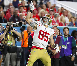 February 2, 2020, Miami Gardens, FL, USA: San Francisco 49ers tight end George Kittle (85) reacts after catching a first-half pass against the Kansas City Chiefs during Super Bowl LIV at Hard Rock Stadium in Miami Gardens, Fla., on Sunday, Feb. 2, 2020. The Chiefs won, 31-20. (Credit Image: © TNS via ZUMA Wire)
