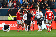 Red Card - Antoine Semenyo (18) of Bristol City is shown a red card, sent off during the EFL Sky Bet Championship match between Bristol City and Derby County at Ashton Gate, Bristol, England on 27 April 2019.