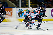 KELOWNA, CANADA - MARCH 04:  Dillon Dube #19 of the Kelowna Rockets, Tyler Sandhu #19 of the Tri-City Americans at the Kelowna Rockets game on March 04, 2017 at Prospera Place in Kelowna, British Columbia, Canada.  (Photo By Cindy Rogers/Nyasa Photography,  *** Local Caption ***