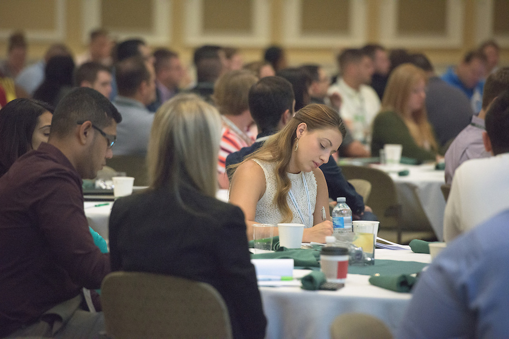 McKenzie Lester attends the Ohio MBA Leadership Development Workshop with speaker Dr. Jason Stoner, Associate Professor in the Ohio University College of Business, in the Baker Center ballroom on Saturday, August 27, 2016.