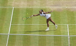 LONDON, ENGLAND - Saturday, July 13, 2019: Serena Williams (USA) during the Ladies' Singles final match on Day Twelve of The Championships Wimbledon 2019 at the All England Lawn Tennis and Croquet Club. Halep won 6-2, 6-2. (Pic by Kirsten Holst/Propaganda)