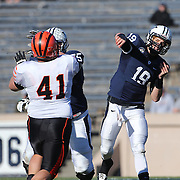 Yale Quarterback Morgan Roberts in action during the Yale Vs Princeton, Ivy League College Football match at Yale Bowl, New Haven, Connecticut, USA. 15th November 2014. Photo Tim Clayton