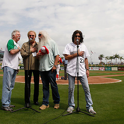 March 1, 2011; Clearwater, FL, USA; Country music group The Oak Ridge Boys sing the national anthem prior to a spring training exhibition game between the Detroit Tigers and the Philadelphia Phillies at Bright House Networks Field. Mandatory Credit: Derick E. Hingle