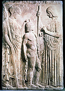 Demeter, Ancient Greek goddess of corn and harvest equivalent to Ceres in the Roman pantheon, presenting corn to Triptolemus. In Greek mythology Triptolemus, hero and demi-god was taught the arts of agriculture by the goddess. Carved relief .