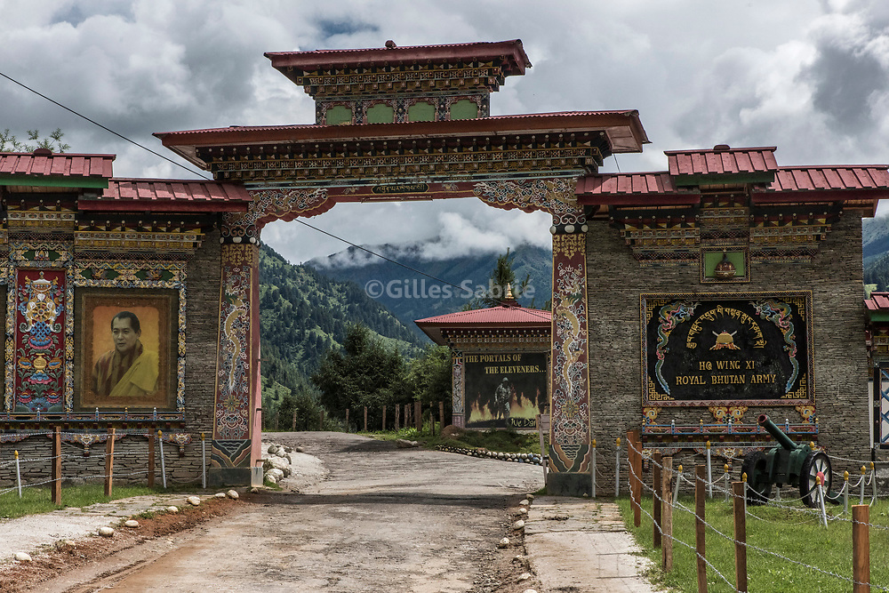 For a story by Steven Lee Myers, Bhutan<br /> Haa, Bhutan, August 3rd, 2017<br /> The gate to a base for the Royal Bhutan Army, 1 day hike away from the Doka La crossing, a disputed border area between Bhutan and China at the center of heated tension between the latter and India. <br /> Gilles Sabri&eacute; pour The New York Times