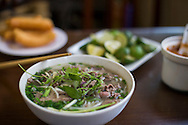 "Bowl of traditional vietnamese dish ""beef noodle soup"" (pho bo), Hanoi, Vietnam, Southeast Asia"