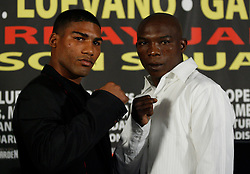 Dec 3, 2009; New York, NY, USA; Yuriokis Gamboa (l) and Rogers Mtagwa (r) pose at the press conference announcing their January 23, 2010 fight at Madison Square Garden.