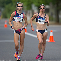 Maria Michta-Coffey, left, leads Miranda Melville during in the womens Olympic Trials 20K race walk in Salem, Ore., on Thursday  June 30, 2016. Michta-Coffey took first in 1:33:41 and Melville took second in 1:34:11.