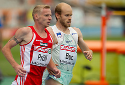 Martin Proell of Austria and Bostjan Buc of Slovenia compete in the Mens 3000m Steeplechase Heat during day four of the 20th European Athletics Championships at the Olympic Stadium on July 30, 2010 in Barcelona, Spain.  (Photo by Vid Ponikvar / Sportida)