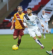 Dundee&rsquo;s Kane Hemmings goes past Motherwell&rsquo;s Keith Lasley - Motherwell v Dundee - Ladbrokes Premiership at Fir Park<br /> <br /> <br />  - &copy; David Young - www.davidyoungphoto.co.uk - email: davidyoungphoto@gmail.com