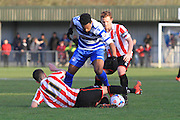 Ryan Jennings, Marlon Jackson and Jack Barthram during the FA Trophy match between Oxford City and Cheltenham Town at Court Place Farm, Oxford, United Kingdom on 16 January 2016. Photo by Antony Thompson.