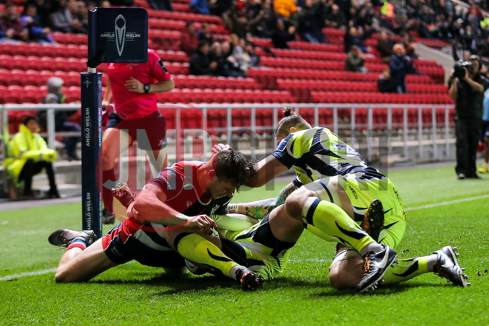 Jason Woodward of Bristol Rugby scores the opening try on his debut for the club - Rogan Thomson/JMP - 11/11/2016 - RUGBY UNION - Ashton Gate Stadium - Bristol, England - Bristol Rugby v Sale Sharks - Anglo Welsh Cup.