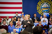 Presidential Hopeful Hillary Rodham Clinton (D-Ny) campaigns at the Henry McLaughlin Middle School in Manchester, New Hampshire.