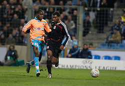 MARSEILLE, FRANCE - Tuesday, December 11, 2007: Liverpool's Ryan Babel scores the fourth goal against Olympique de Marseille during the final UEFA Champions League Group A match at the Stade Velodrome. (Photo by David Rawcliffe/Propaganda)
