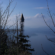 The Hammetschwand lift on the Bürgenstock mountain - Europe's tallest outdoor elevator, towering over Lake Lucerne, climbing the last 500 Ft/152 M of the 3,700 Ft/1,127 M cliffs.