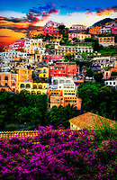 """Bougainvillea anticipates sunset above Positano cliff side""…<br />