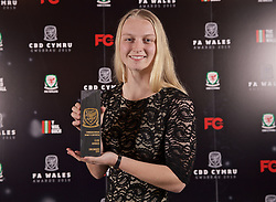 CARDIFF, WALES - Thursday, March 21, 2019: Wales' Elise Hughes with her Young Player of the Year award during the Football Association of Wales Awards 2019 at the Hensol Castle. (Pic by David Rawcliffe/Propaganda)
