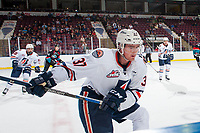 KELOWNA, CANADA - SEPTEMBER 5: Joe Gatenby #37 of the Kamloops Blazers shoots the puck from the boards against the Kelowna Rockets on September 5, 2017 at Prospera Place in Kelowna, British Columbia, Canada.  (Photo by Marissa Baecker/Shoot the Breeze)  *** Local Caption ***