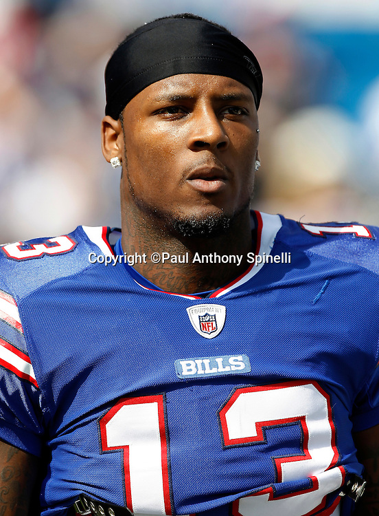 Buffalo Bills wide receiver Steve Johnson (13) looks on during the NFL week 3 football game against the New England Patriots on Sunday, September 25, 2011 in Orchard Park, New York. The Bills won the game 34-31. ©Paul Anthony Spinelli