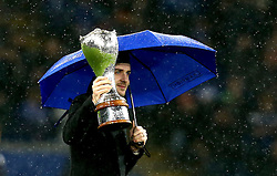 Snooker Player Mark Selby (The Jester from Leicester) shows his UK Championship Trophy to the crowd at Leicester City - Mandatory by-line: Robbie Stephenson/JMP - 10/12/2016 - FOOTBALL - King Power Stadium - Leicester, England - Leicester City v Manchester City - Premier League