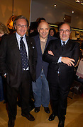 Diego  della Valle, Anthony Mingella and Dante Ferretti. Tod's hosts Book signing with Dante Ferretti celebrating the launch of 'Ferretti,- The art of production design' by Dante Ferretti. tod's, Old Bond St. 19 April 2005.  ONE TIME USE ONLY - DO NOT ARCHIVE  © Copyright Photograph by Dafydd Jones 66 Stockwell Park Rd. London SW9 0DA Tel 020 7733 0108 www.dafjones.com