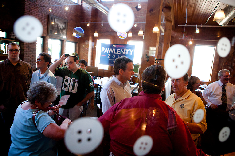 Republican presidential hopeful Tim Pawlenty campaigns on Monday, July 25, 2011 in Muscatine, IA.