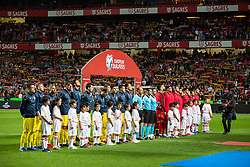 March 22, 2019 - Lisbon, Portugal - Teams sing the national anthem during the Qualifiers - Group B to Euro 2020 football match between Portugal vs Ukraine. (Credit Image: © Henrique Casinhas/SOPA Images via ZUMA Wire)