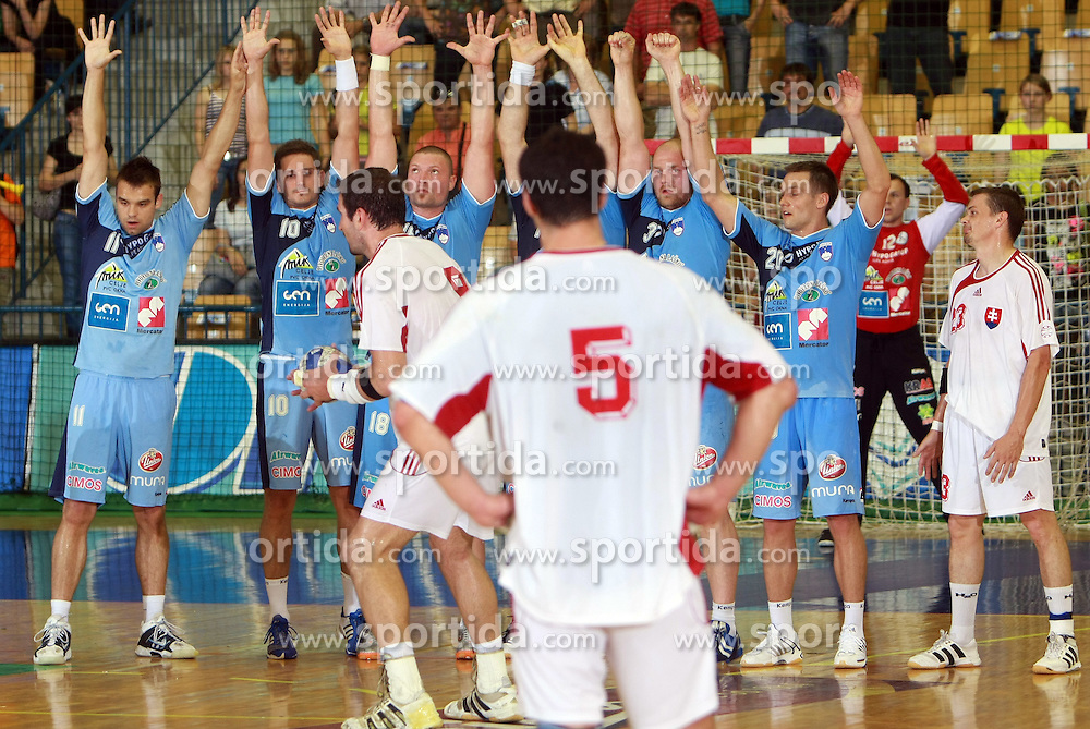 Team Slovenia in block at  handball game between men national teams of Slovenia and Slovakia, first qualification game for the World Chamionship 2009, on June 7, 2008, in Arena Zlatorog, Celje, Slovenija. Result: 33 : 33. (Photo by Vid Ponikvar / Sportal Images)